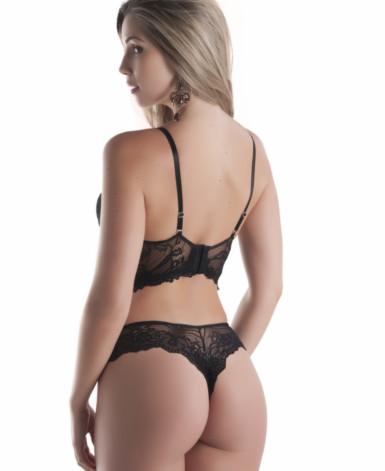 Conjunto de lingerie cropped e strappy em renda - Cissa