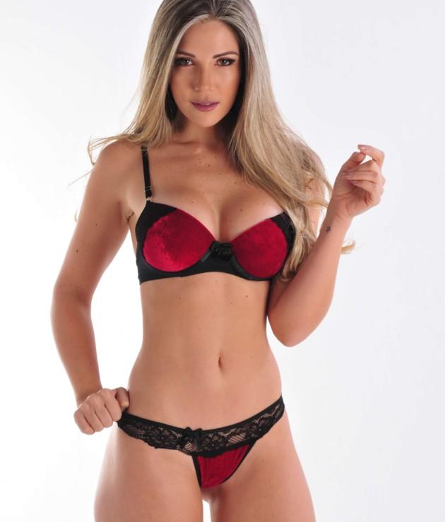 Conjunto sensual de veludo - Bibi