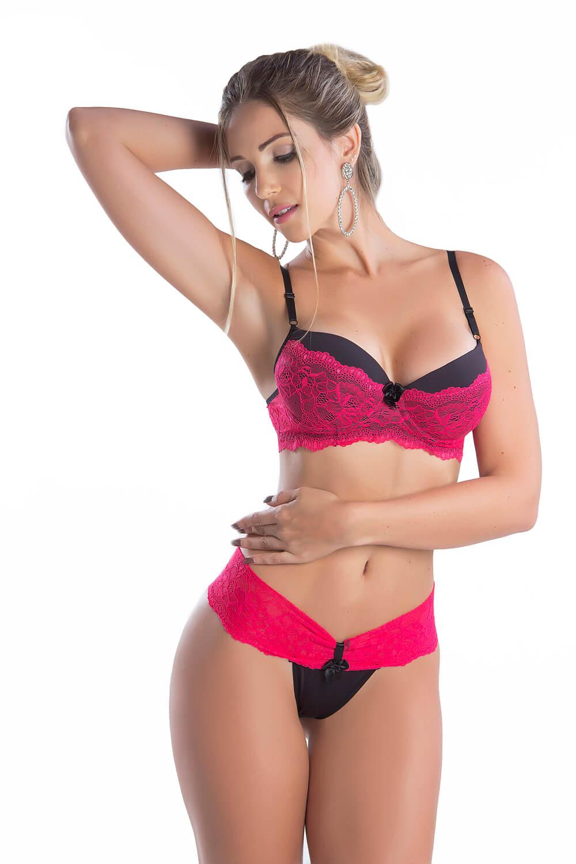Conjunto sensual de lingerie bicolor