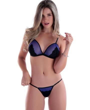 Conjunto de lingerie em tule e renda