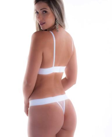 Conjunto de lingerie branca em tule - Mariani