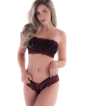 Conjunto de lingerie com bustie bicolor