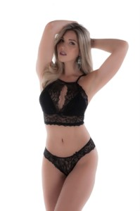 Conjunto de lingerie estilo decote