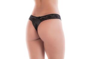 Calcinha sensual em tecido brilhoso frente