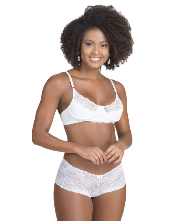Conjunto de lingerie sem bojo branco frente