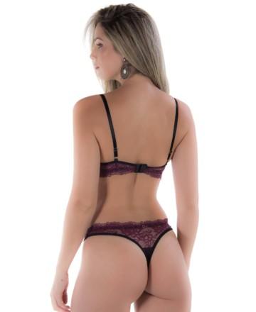 Conjunto de lingerie sensual com tiras