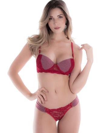 Conjunto de lingerie em algodão listrado