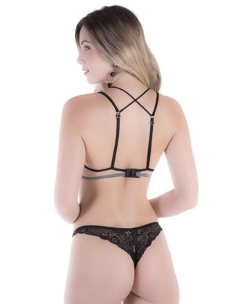 Conjunto de lingerie em renda e tule