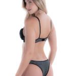 Conjunto de lingerie em algodão listrado preto costas