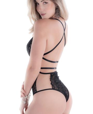 body feminino aberto nas costas com tule