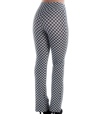 calça com estampas geometricas preto e branco