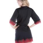 Robe de microfibra com renda bicolor costas