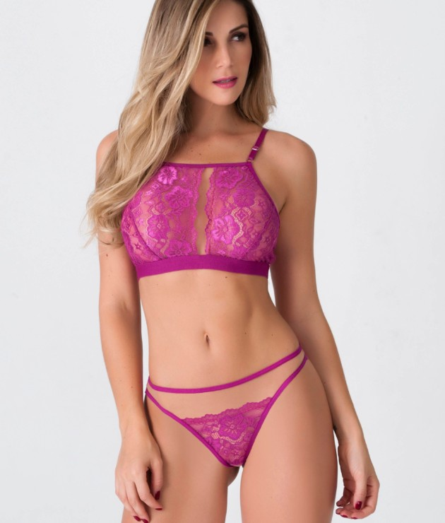 Conjunto de lingerie em tule sem bojo