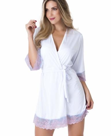 robe de microfibra com renda bicolor