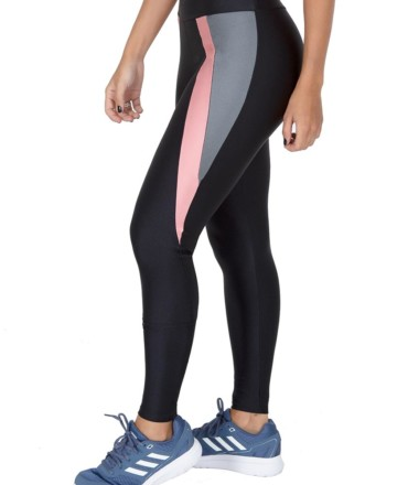 Calça legging preta com cores em destaque