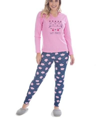 Pijama feminino em algodão com estampas