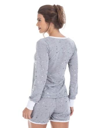 Short doll manga longa em algodão com brilho