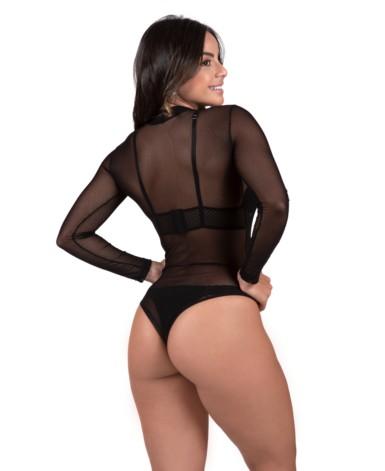 Body manga longa em tulle transparente - Bruna