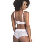 Conjunto de lingerie com elástico trabalhado branco costas