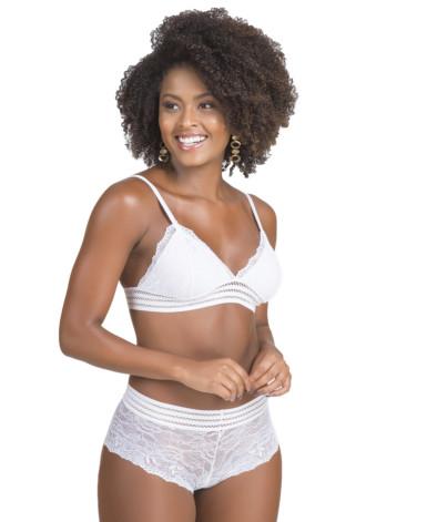 Conjunto de lingerie com elástico trabalhado branco frente