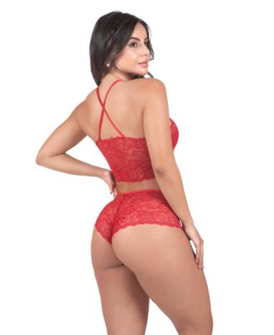 Conjunto de lingerie em renda sem bojo - Deluene