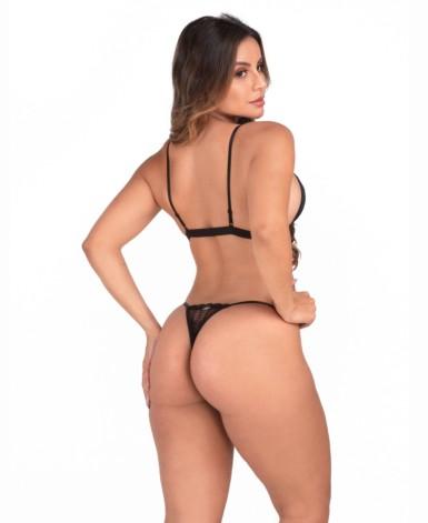 Conjunto de lingerie em tule e renda - Lisete
