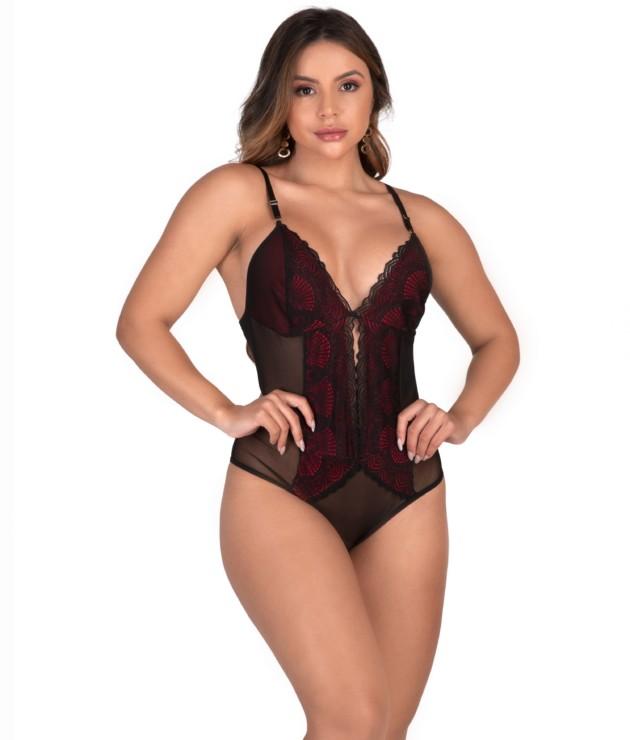 Body sensual em tule e renda - Amanda