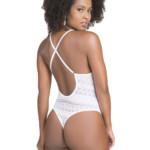 Body em renda com desenho geométrico branco costas