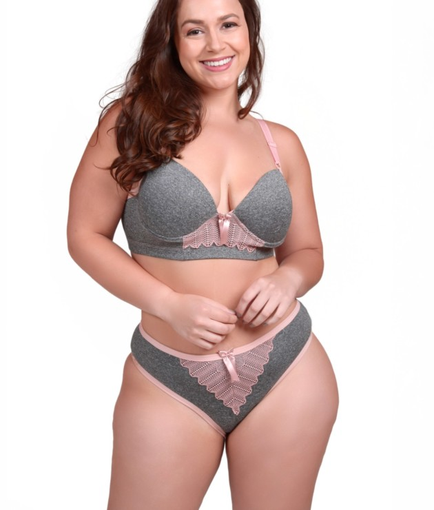 Conjunto Plus Size em supplex mesclado - Amara