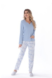 Pijama canelado com calça estampada
