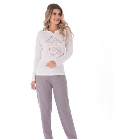 Pijama em malha listrada bom botão