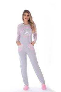 Pijama feminino mesclado rosa