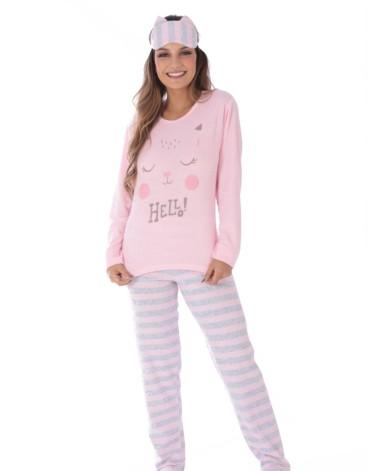 Pijama feminino plush estampado