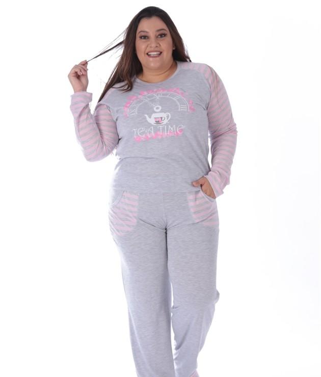 Pijama plus size em malha mesclada