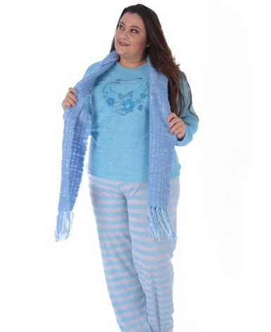 pijama plus size listrado em plush