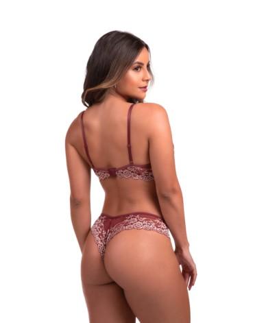 Conjunto sensual todo em renda bicolor - Luana