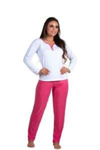 Pijama longo em malha canelada - Lara