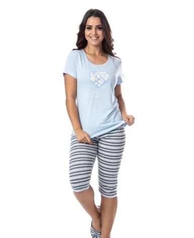 Pijama manga curta estilo pescador