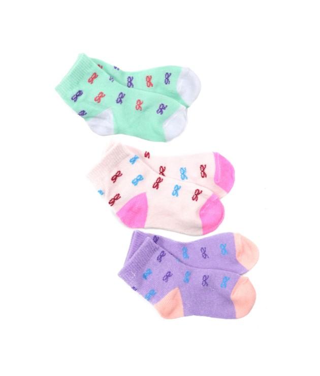 Kit com 3 meias feminina infantil