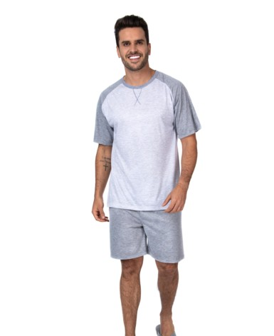 Pijama masculino manga curta Raglan