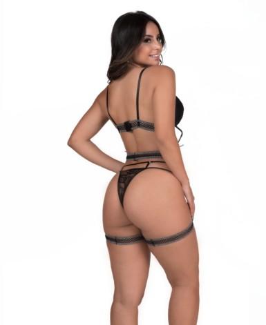 Conjunto sensual com cinta liga - Maxine