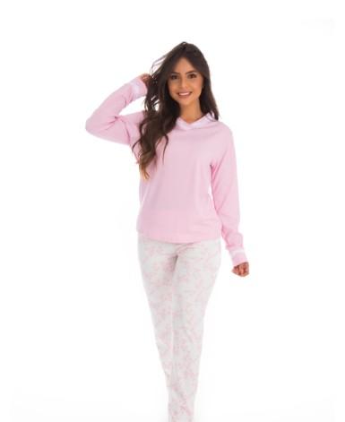 Pijama com calça estampada e detalhe em renda
