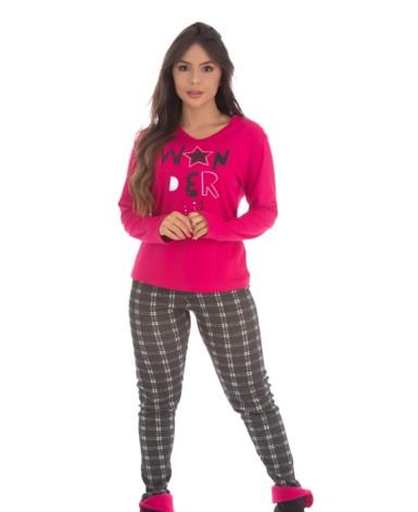 Pijama estampado manga longa