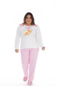 Pijama plus size com blusa estampada