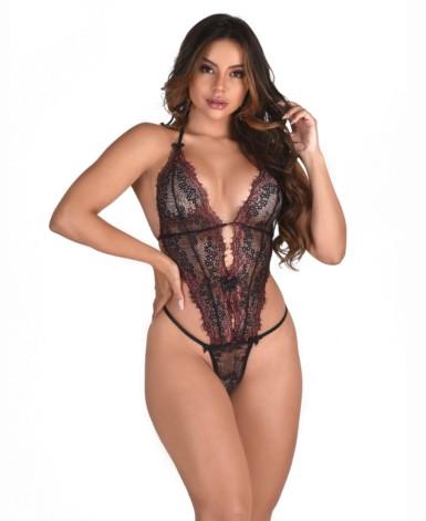 Body sexy em renda chantilly - Monique