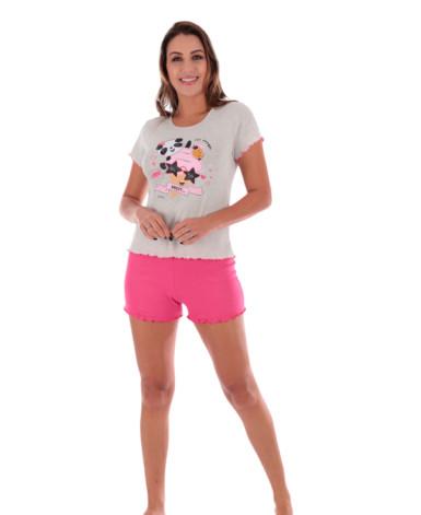 Pijama feminino manga curta